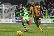 Forest Green Rovers Dale Bennett(2) and Cambridge United's Medy Elito(21) chase down the ball during the EFL Sky Bet League 2 match between Forest Green Rovers and Cambridge United at the New Lawn, Forest Green, United Kingdom on 20 January 2018. Photo by Shane Healey.