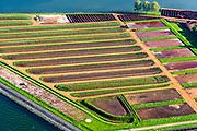Nederland, Noord-Holland, gemeente Medemblik , 07-05-2018; Andijk. Drinkwaterbedrijf en waterwinstation Prinses Juliana, spaarbekkens en slibvelden <br /> Drinking water company with reservoirs.<br /> <br /> luchtfoto (toeslag op standard tarieven);<br /> aerial photo (additional fee required);<br /> copyright foto/photo Siebe Swart