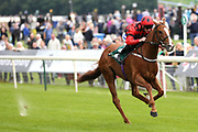 SOCIETY RED (11) ridden by jockey Paul Hanagan and trained by Richard Fahey winning The Mr Greens Gentlemans Day Handicap Stakes over 1m 2f (£25,000)  during the Mid Summer Raceday at York Racecourse, York, United Kingdom on 15 June 2018. Picture by Mick Atkins.