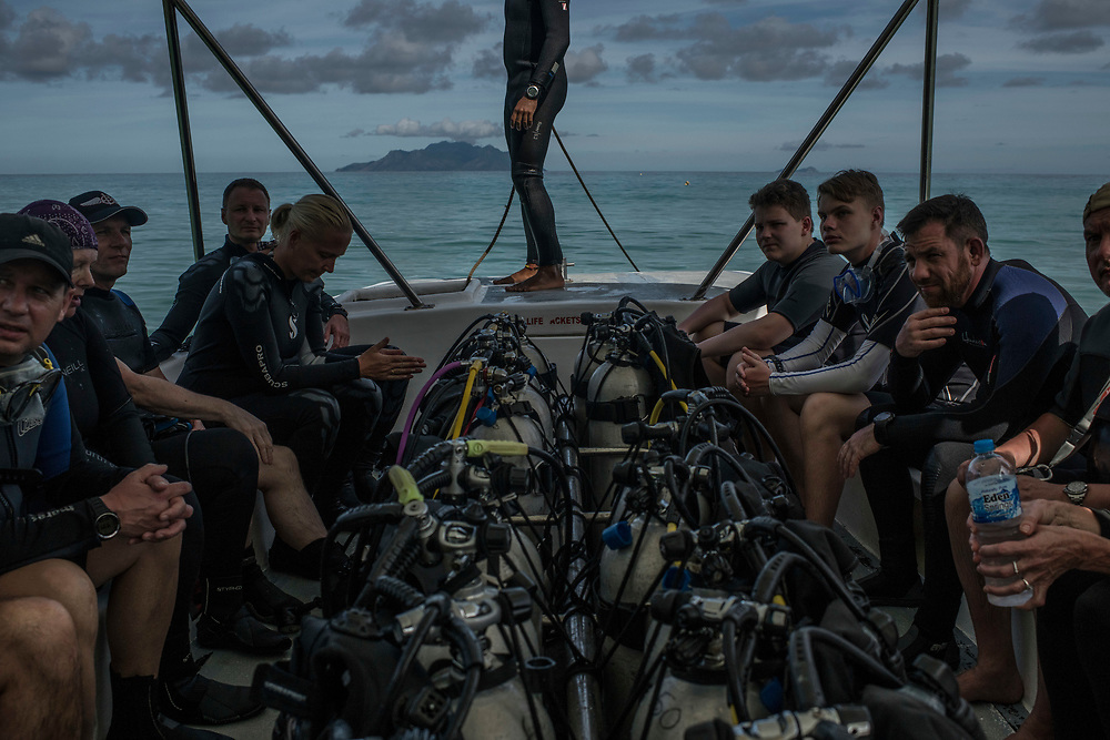 Recreation divers are ferried to a dive spot off the beach in Beau Vallon, Seychelles on February 21, 2018. Tourism is one of the country's main income generators.<br /> <br /> The government of Seychelles has created 81,000 square miles of Marine Protected Areas as part of a conservation debt swap deal in an effort to shield marine ecosystems from unsustainable development and climate change while safeguarding its economy.