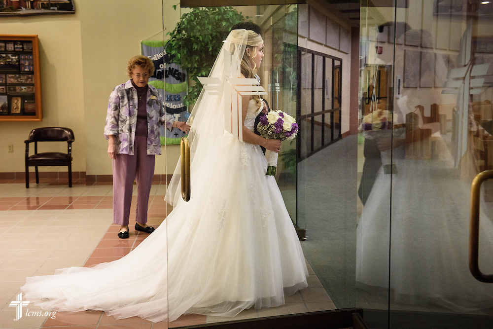 Bride Toni Vining processes through the doors into the church sanctuary for her wedding at St. Luke's Lutheran Church on Saturday, March 5, 2016, in Oviedo, Fla. LCMS Communications/Erik M. Lunsford