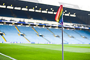 A close up view of the corner flag in support of Stonewall's Rainbow Laces campaign before the EFL Sky Bet Championship match between Leeds United and Bristol City at Elland Road, Leeds, England on 24 November 2018.