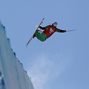 Patrick Baskins, USA, in action in the Halfpipe Finals during The North Face Freeski Open at Snow Park, Wanaka, New Zealand, 3rd September 2011. Photo Tim Clayton...
