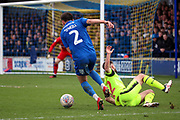 AFC Wimbledon defender Luke O'Neill (2) dribbling into the box during the EFL Sky Bet League 1 match between AFC Wimbledon and Bolton Wanderers at the Cherry Red Records Stadium, Kingston, England on 7 March 2020.