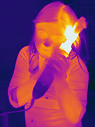 A Thermogram of a young girl curling her hair with a hot iron.  The different colors represent different temperatures on the object. The lightest colors are the hottest temperatures, while the darker colors represent a cooler temperature.  Thermography uses special cameras that can detect light in the far-infrared range of the electromagnetic spectrum (900?14,000 nanometers or 0.9?14 µm) and creates an  image of the objects temperature..