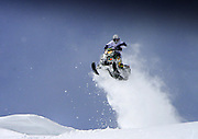 Rob Hoff launches his 2011 Skidoo X at speed in the Snake River range