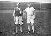 H920<br /> Aonach Tailteann Athletics - Croke Park. <br /> J. O'Grady (Ireland) on left with Pat MacDonald (U.S.A.) who took part in slinging the 57LB weight for height event. They tied for first place. 1928.  (Part of the Independent Newspapers Ireland/NLI Collection)