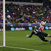 Bradley Wright-Phillips, New York Red Bulls, hits the bar as he shoots past Tyler Deric, Houston Dynamo, during the New York Red Bulls Vs Houston Dynamo, Major League Soccer regular season match at Red Bull Arena, Harrison, New Jersey. USA. 4th October 2014. Photo Tim Clayton