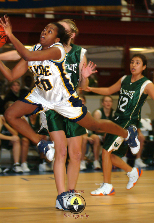 January 22, 2008 -- HYDE SCHOOL, BATH, Maine.    Waynflete couldn't help running up the score on the Hyde girls on Tuesday night in Bath: 53-22.  Photo by Roger S. Duncan.