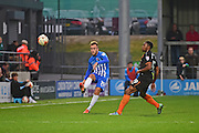 Hartlepool United midfielder Jordan Richards (19) passes upfield during the EFL Sky Bet League 2 match between Barnet and Hartlepool United at Underhill Stadium, London, England on 29 October 2016. Photo by Jon Bromley.