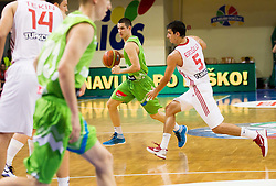 Jan Span of Slovenia vs Erbil Eroglu of Turkey during basketball match between National teams of Turkey and Slovenia in Qualifying Round of U20 Men European Championship Slovenia 2012, on July 17, 2012 in Domzale, Slovenia. (Photo by Vid Ponikvar / Sportida.com)