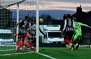Forest Green Rovers Mark Roberts(21) tries to reach a bouncing ball on the Grimsby goal line during the EFL Sky Bet League 2 match between Grimsby Town FC and Forest Green Rovers at Blundell Park, Grimsby, United Kingdom on 9 December 2017. Photo by Paul Thompson.