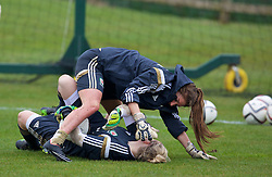 CHESTER, ENGLAND - Sunday, April 5, 2015: Wales' goalkeeper Claire Skinner and goalkeeper Alice Evans during a training session at the Carden Park Hotel ahead of a friendly match against Slovakia. (Pic by David Rawcliffe/Propaganda)