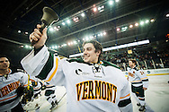 Vermont goalie Stephan's Lekkas (40) rings the bell after the Catamounts win in the men's hockey game between the Vermont Catamounts and the Quinnipiac Bobcats in the championship game of the Friendship Four hockey tournament at the SSE Arena on Saturday evening November 26, 2016 in Belfast, Ireland. (BRIAN JENKINS/for the FREE PRESS)