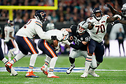 Maxx Crosby (DE) of the Oakland Raiders sacks Chase Daniel (QB) of the Chicago Bears during the International Series match between Oakland Raiders and Chicago Bears at Tottenham Hotspur Stadium, London, United Kingdom on 6 October 2019.