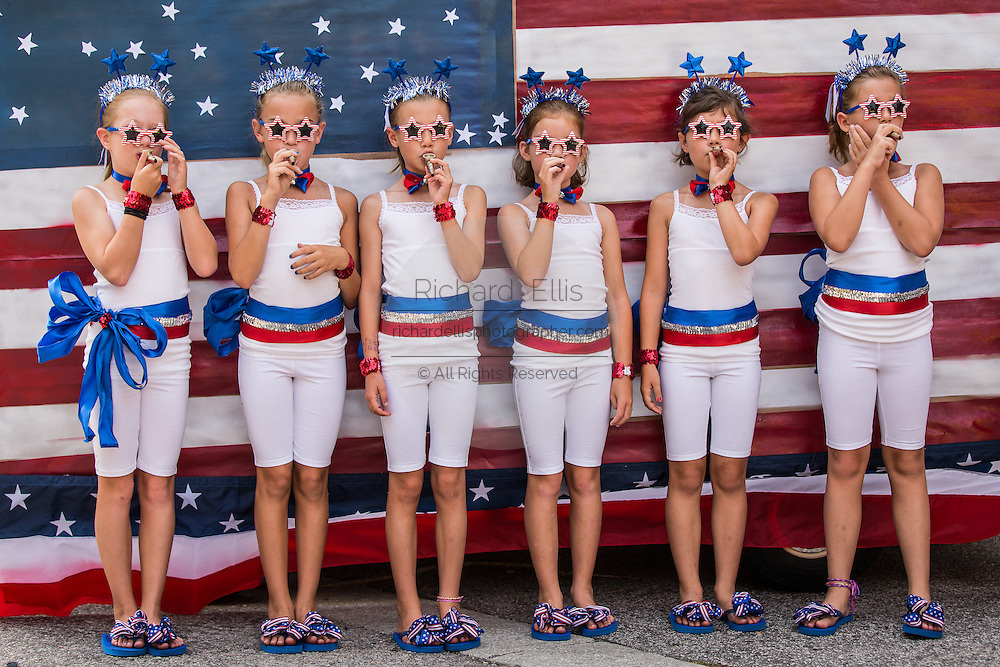 Young members of Uncle Sam's Band with their kazoo's during the annual I'On Community Independence Day Parade on July 4, 2012 in Mt Pleasant, South Carolina.