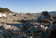 Photo shows the trail of destruction caused by the March 11 magnitude 9 quake and subsequent tsunami as viewed from the grounds of Jodo-ji temple in Rikuzentakata, Iwate Prefecture, Japan on April 6, 2011..Photographer: Robert Gilhooly