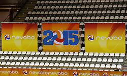 02-10-2013 VOLLEYBAL: WK KWALIFICATIE MANNEN NEDERLAND - ISRAEL: ALMERE<br /> Nederland wint met 3-0 van Israel / 2015, het jaar van de waarheid met EK vrouwen en WK beachvolleybal in eigen land. Item volleybal creative boarding<br /> ©2013-FotoHoogendoorn.nl