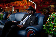 President of the Governemnt of South Sudan Salva Kiir rests on a sofa during his last campaign stop in Sudan's April election. Elected in a landside victory Kiir is prepareing South Sudan for either indepependence, or a new war.