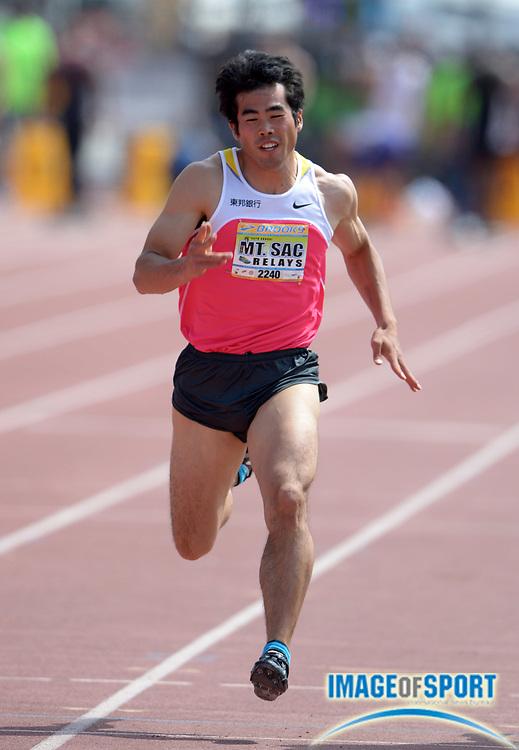 Apr 18, 2014; Walnut, CA, USA; Kazuya Tajima (JPN) wins 100m heat in 10.70 in the 56th Mt. San Antonio College Relays at Hilmer Lodge Stadium.