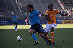 September 23, 2017 - East Hartford, Connecticut, U.S - New York City FC midfielder ANDREA PIRLO (21) defends the ball against Houston Dynamo midfielder DAMARCUS BEASLEY (7) during a game at Pratt & Whitney Stadium at Rentschler Field, East Hartford, CT.  New York City FC draw with the Houston Dynamo 1 to 1 (Credit Image: © Mark Smith via ZUMA Wire)