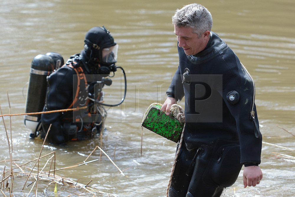 © Licensed to London News Pictures. 30/03/2016. Surrey, UK. Emergency services continue searching for the missing man in the River Wey in Guildford, Grant Broster disappeared after his kayak capsized as Storm Katie hit Britain on Bank Holiday Monday. Photo credit should read: Emma Sheppard/LNP