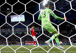 SOCHI, July 7, 2018  Goalkeeper Danijel Subasic (R) of Croatia celebrates after saving a penalty kick by Russia's Fedor Smolov during the penalty shootout of the 2018 FIFA World Cup quarter-final match between Russia and Croatia in Sochi, Russia, July 7, 2018. Croatia won 6-5 (4-3 in penalty shootout) and advanced to the semi-finals. (Credit Image: © Cao Can/Xinhua via ZUMA Wire)