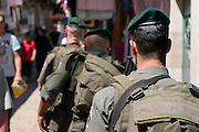Israel, Jerusalem, border police patrol in the Muslim quarter, old city of Jerusalem