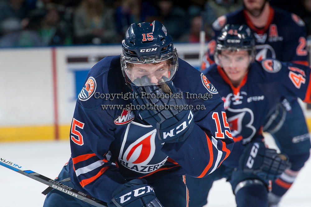 KELOWNA, CANADA - MARCH 5: Collin Shirley #15 of Kamloops Blazers celebrates a goal against the Kelowna Rockets on March 5, 2016 at Prospera Place in Kelowna, British Columbia, Canada.  (Photo by Marissa Baecker/Shoot the Breeze)  *** Local Caption *** Collin Shirley;