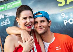 Blaz Rola of Slovenia celebrates with his wife Vanesa after winning Singles in Quarter - Final of ATP Challenger Zavarovalnica Sava Slovenia Open 2019, day 8, on August 16, 2019 in Sports centre, Portoroz/Portorose, Slovenia. Photo by Vid Ponikvar / Sportida