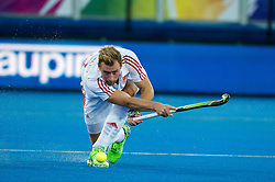 England's Dan Shingles. England v Netherlands  - Unibet EuroHockey Championships, Lee Valley Hockey & Tennis Centre, London, UK on 23 August 2015. Photo: Simon Parker