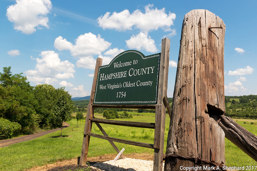 The welcome sign on WV 28 proudly states that Hampshire County is West Virginia's oldest. (Photo by Mark A. Shephard)