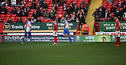 Blackburn Rovers striker, Jordan Rhodes (11) celebrating scoring equiliser whilst charlton players look on during the Sky Bet Championship match between Charlton Athletic and Blackburn Rovers at The Valley, London, England on 23 January 2016. Photo by Matthew Redman.