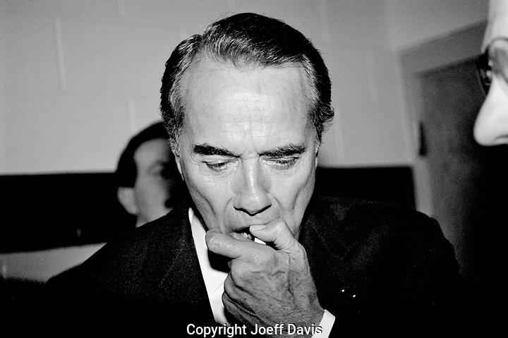 "LISLE, IL - March 17, 1996: Republican presidential candidate Sen. Bob Dole backstage before a ""Dole for President"" rally held at Illinois Benedictine Collegei in Lisle, Illinois."