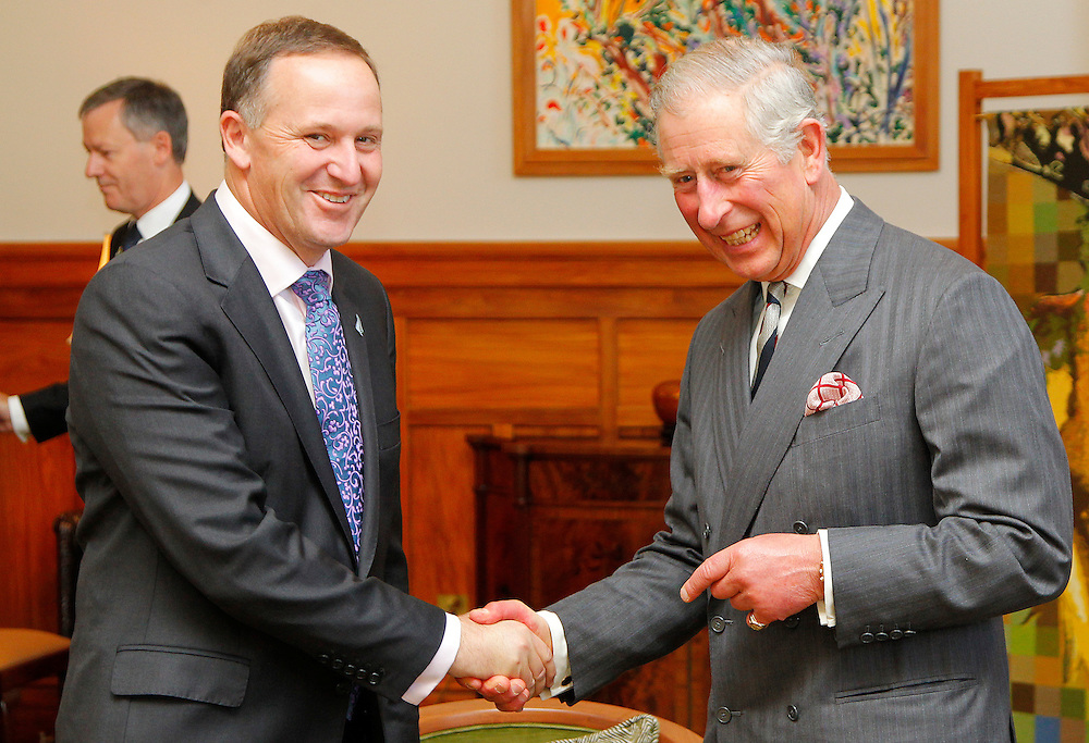 His Royal Highness Prince Charles, right, with the Prime Minister of New Zealand, John Key at Government House, Wellington, New Zealand, Wednesday, November 14, 2012. Credit:SNPA / DominionPost, Chris Skelton **POOL**