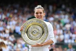 July 13, 2019 - London, GREAT BRITAIN - Simona Halep defeated Serena Williams (USA) 6/2, 6/2 (Credit Image: © Panoramic via ZUMA Press)