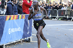 November 6, 2016 - New York, New York, U.S - ABDI ABDIRAHMAN, age 39, competes in the New York City Marathon.  A Somali-born American, he would finish 3rd in the men's division at a time of 2:11:23. (Credit Image: © Staton Rabin via ZUMA Wire)