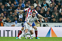 Real Madrid´s Daniel Carvajal and Atletico de Madrid´s Gabi during Spanish King´s Cup match at Santiago Bernabeu stadium in Madrid, Spain. January 15, 2015. (ALTERPHOTOS/Victor Blanco)