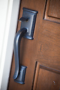 Wood Front Door with Rustic Handle Set Stock Photo