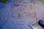 "Sea map at the Captains bridge of the ""Eastern Dream"" ferry connecting Donghae in South Korea with Vladivostok in Russia. Donghae, South Korea, Republic of Korea, KOR, 12.01.2010."