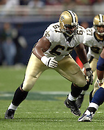 New Orleans tackle Jamar Nesbit (67) during game action against St. Louis at the Edward Jones Dome in St. Louis, Missouri, October 23, 2005.  The Rams beat the Saints 28-17.