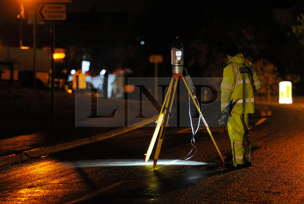 © Licensed to London News Pictures. 27/01/2013. Bristol, UK. The scene where two cyclists, a man and a woman, died after they were involved in a hit and run accident with a vehicle in Lower Hanham Road, Hanham, Bristol.  27 January 2013..Photo credit : Simon Chapman/LNP