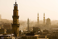 Egypt. Cairo elevated view.  - minaret of al Ghuri mosque , in the distance Bab Zuwayla gate minarets.. sharia Al Mu'izz LI DIN Allah street    islamic, view from the minaret of the mosquee madrassa al Zahir BAYBARS,   Cairo - Egypt  NM37