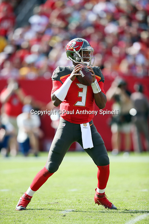 Tampa Bay Buccaneers quarterback Jameis Winston (3) drops back to pass during the 2015 week 14 regular season NFL football game against the New Orleans Saints on Sunday, Dec. 13, 2015 in Tampa, Fla. The Saints won the game 24-17. (©Paul Anthony Spinelli)