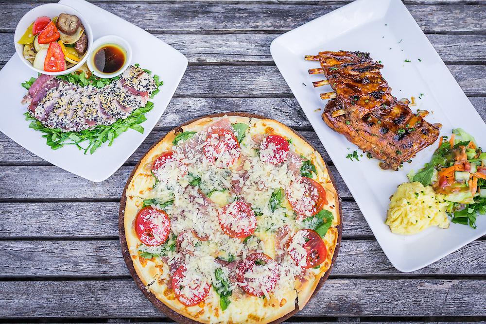 Sesame Crusted Tuna, Italian Pizza, and Pork Ribs.