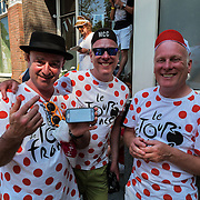 Nederland, Utrecht, 09-06-2015 British spectators along the track of the first stage of the Tour de France / Grand Depart. Foto: Gerard Til / Hollandse Hoogte