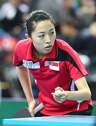 February 23, 2018 - London, England, United Kingdom - Mengyu YU of Singapore .during 2018 International Table Tennis Federation World Cup match between Mengyu YU of Singapore against Kelly SIBLEY of England  at Copper Box Arena, London  England on 23 Feb 2018. (Credit Image: © Kieran Galvin/NurPhoto via ZUMA Press)