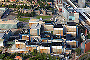 Nederland, Zuid-Holland, Leiden, 15-07-2012; Leids Universitair Medisch Centrum LUMC. Rechts het station, links in de achtergrond het Poortgebouw..University hospital (LUMC)  of the city of Leiden, and railway station (r).luchtfoto (toeslag), aerial photo (additional fee required).foto/photo Siebe Swart