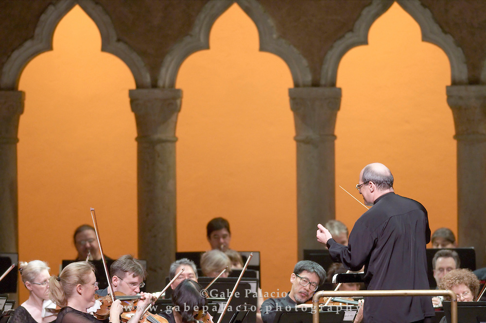 Robert Spano, conductor, and the Orchestra of St. Luke's perform Schumann in the Venetian Theater at Caramoor in Katonah, New York on July 17, 2010..(photo by Gabe Palacio)