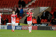James Coppinger of Doncaster Rovers applauds fans after the EFL Sky Bet League 1 match between Doncaster Rovers and Bristol Rovers at the Keepmoat Stadium, Doncaster, England on 26 March 2019.